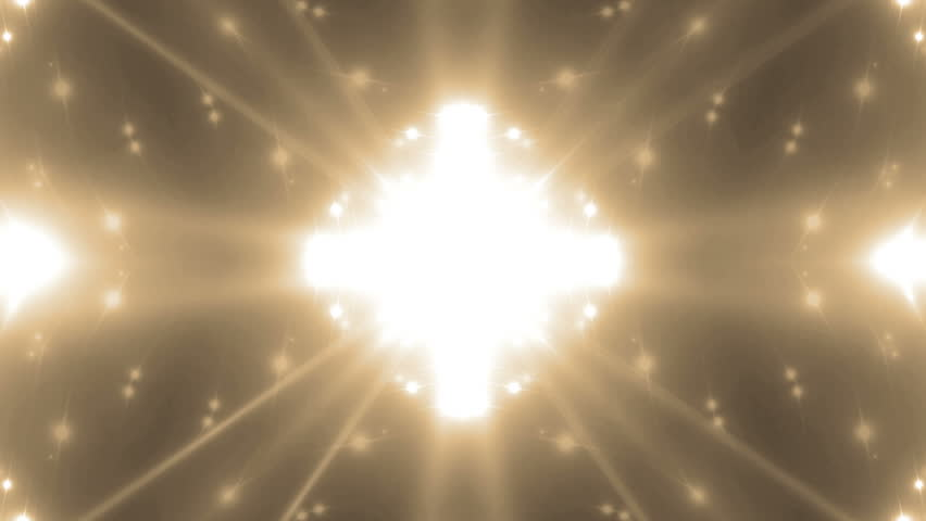 VJ Fractal gold kaleidoscopic background. Background gold motion with fractal design. Disco spectrum lights concert spot bulb. Animation seamless loop.