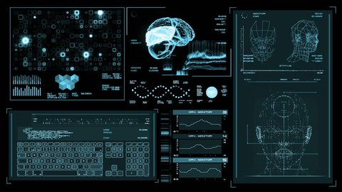 Ultra high resolution footage of blue futuristic interface. Digital background. Blinking and switching indicators and statuses showing brain scanning process or human health.UHD,HD,1080p.