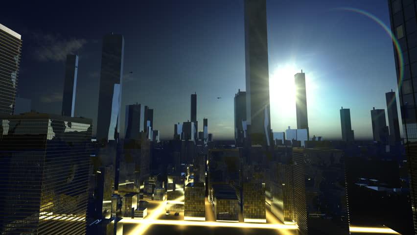 Sun over skyscraper in horizon