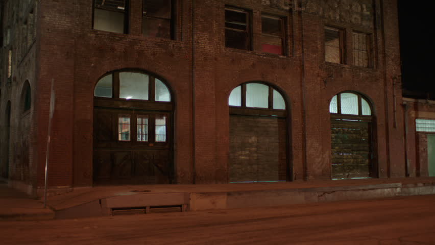 Night Hold Arched Roll Doors Corner 3 Story Distressed Run Down Brick  Industrial Building Warehouse Loft