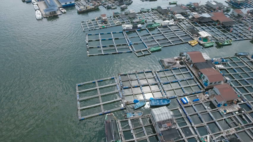 Aerial view of a local floating fishing community on Hainan island in the South China Sea.