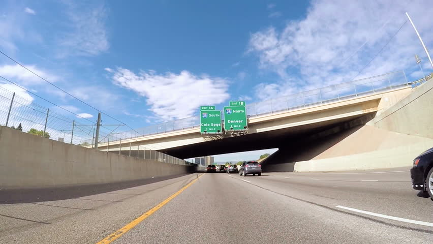 Denver, Colorado, USA-September 21, 2016. POV point of view - Driving on interstate highway.