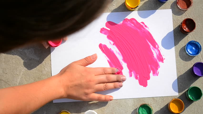 Girls and finger paint video — 7