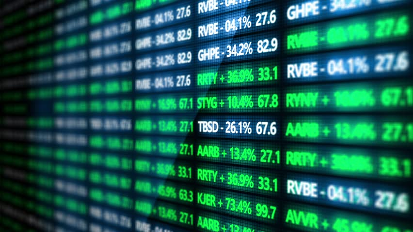 Stock Market Tickers in a blurry wall street environment - Vertical Angle