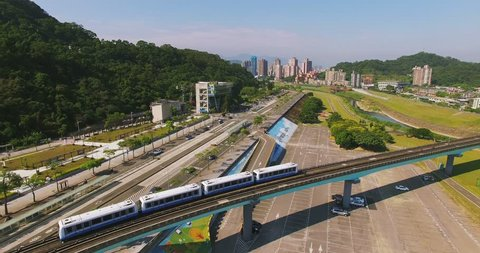 Aerial shot of the Taipei MRT is one of the best way to travel around the city.