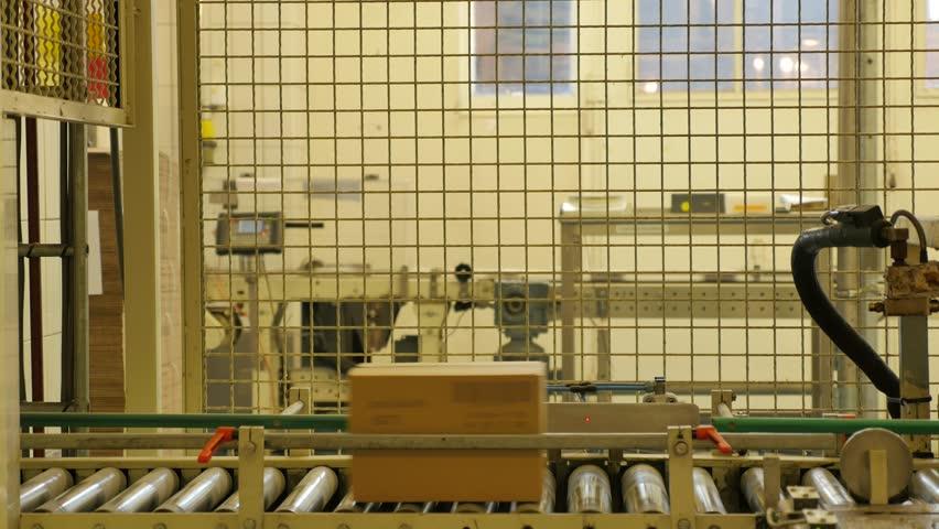 Cardboard boxes travelling along a conveyor belt in a rice factory 4K | Shutterstock HD Video #19977940