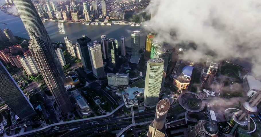 Bird view of the busy Pudong CBD in the sky at sunset,Shanghai, China  | Shutterstock HD Video #19982383