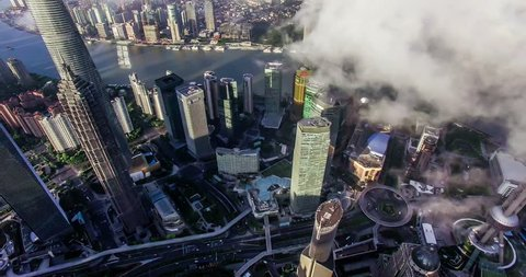 Bird view of the busy Pudong CBD in the sky at sunset,Shanghai, China
