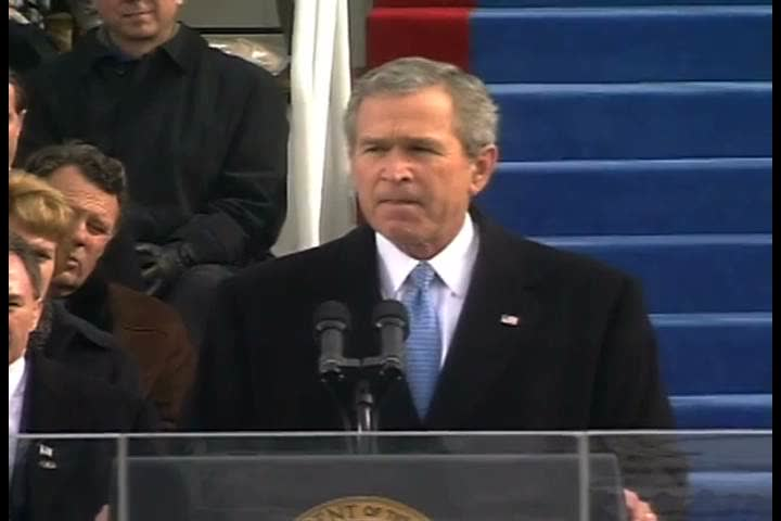 In his 2005 inaugural address, President Bush likens the tyranny and terror of the 21st century to the dangers communism posed in the past (2000s)