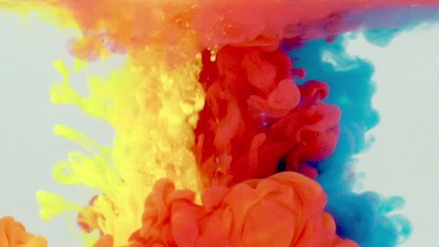 Underwater Yellow red blue Paint Smoke