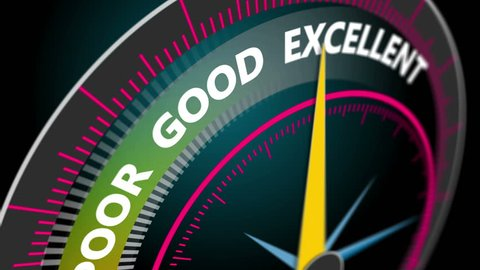 Compass needle pointing the word excellence, motion blur. 4K business concept animation seamless loop.