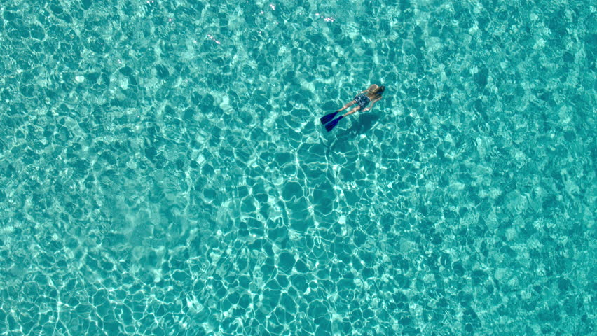 Aerial - High angle view of young woman in board shorts snorkeling underwater in crystal clear waters of luxury travel destination