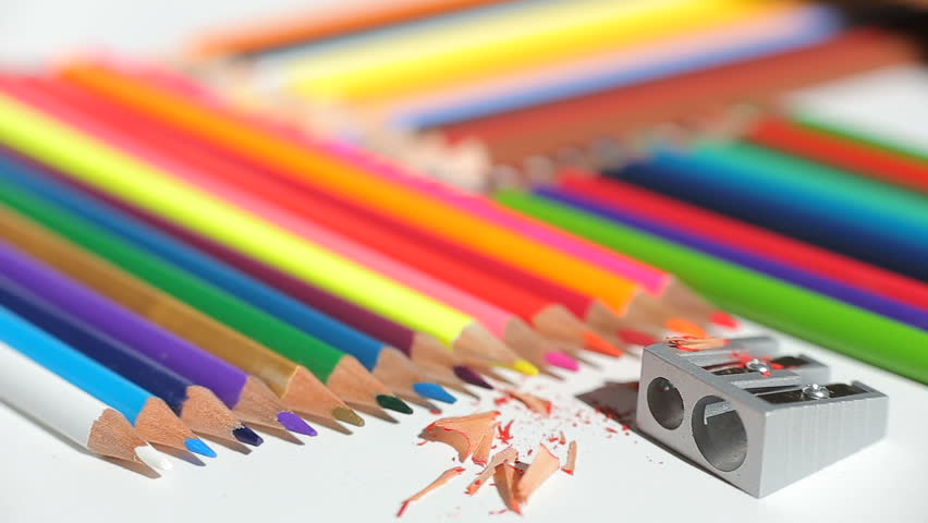 Color pencils and pencil sharpener | Shutterstock HD Video #20165293
