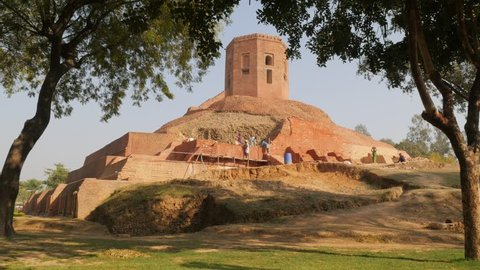 Sarnath,India - February 25,2016: Chaukhandi Stupa being restored