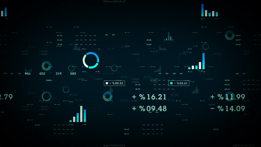 Business Graphs And Data Blue - Graphs and other business data drifting through cyberspace. Available in multiple color options. All clips loop seamlessly.