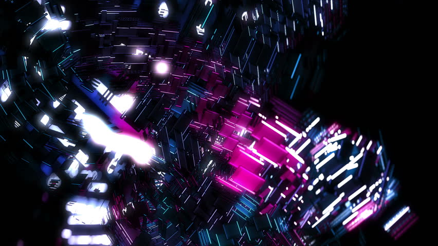 Electric Geometric Vj Loop. Glowing And Neon Colors For Electronic ...