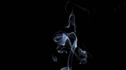 Thin crisp tongue of smoke curling upwards from single source