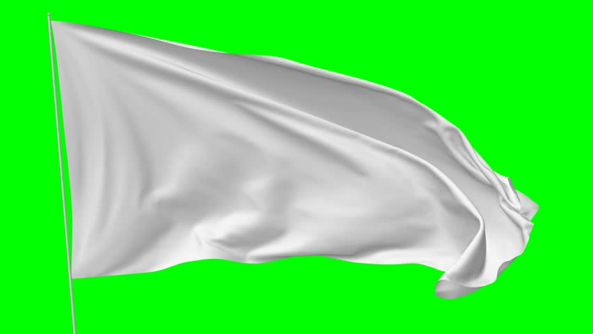 Blank plain white flag with flagpole waving in the wind, surrender flag 3D animation with green screen