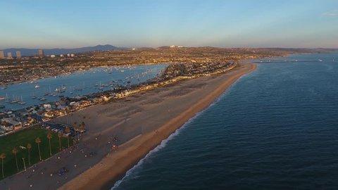 Newport Beach, California Aerial 4K video of the Newport Beach Peninsula at sunset