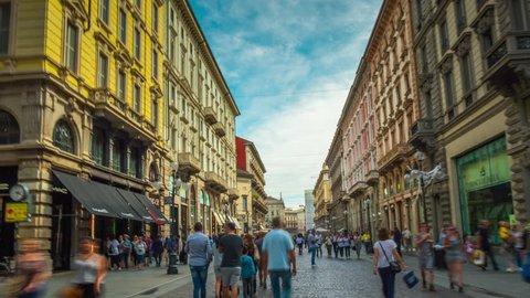 MILAN, ITALY - SEPTEMBER 2016: day city famous pedestrian via dante street crowded walking panorama 4k time lapse circa september 2016 milan, italy.
