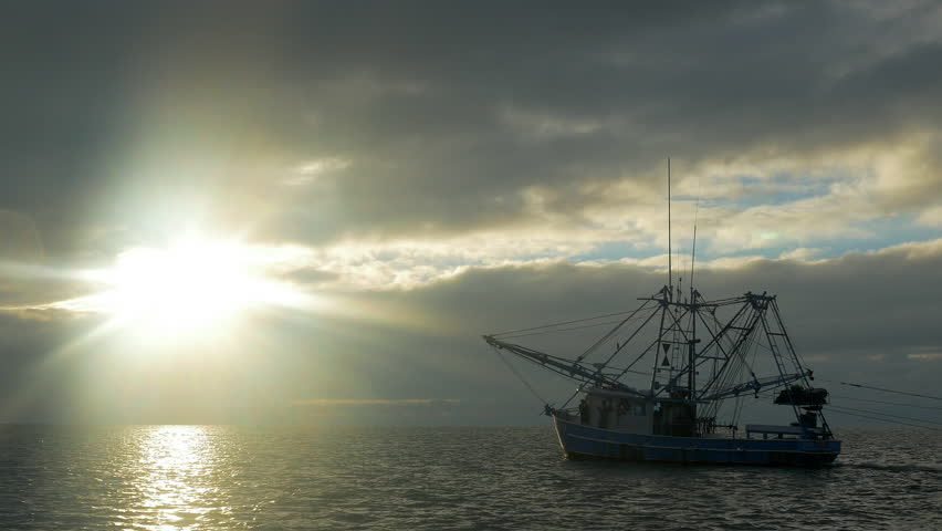 Shrimping trawler fishing just after sunrise with nets in the water.