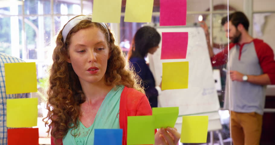 Group of business executives interacting over sticky notes in office 4k | Shutterstock HD Video #20397997