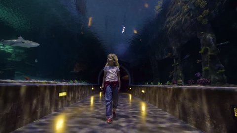 Little Girl Walks Through Amazing Underwater Tunnel At An Aquarium, She Looks Around Mesmerized