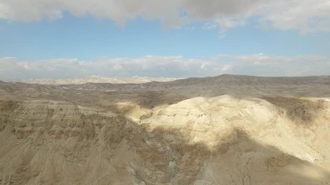 Dried waterfall near Qumran Visitors Center in Judean Wilderness - Israel aerial footage
