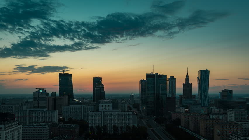 Sunrise over Warsaw Skyline, Time Lapse, Poland. Vintage colors