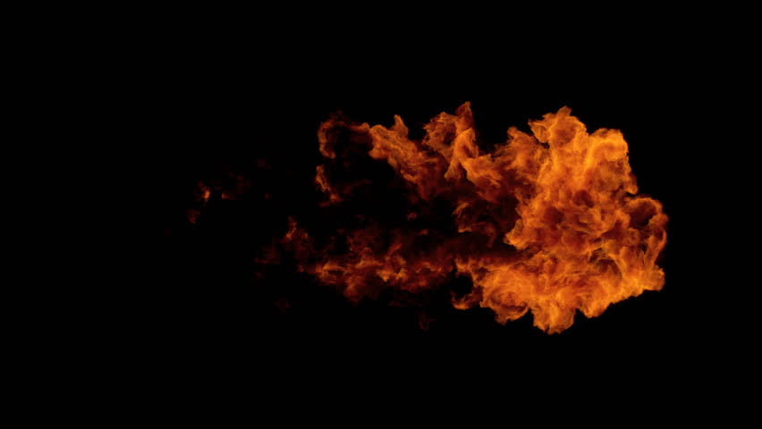 High Speed Fire ball explosion from left to right, slow motion fire flamethrower isolated on black background with alpha channel, perfect for cinema, digital composition, video mapping.