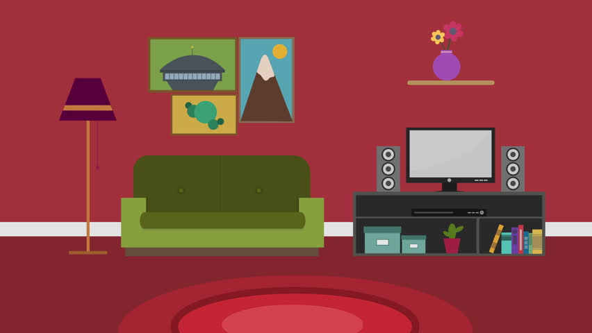 Charming Cartoon Modern Colorful Living Room Animation With Space For Your