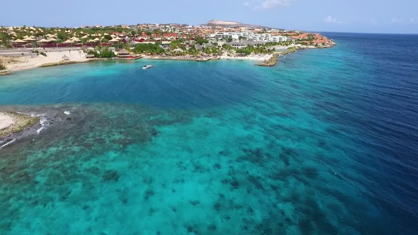 Aerial overview of beach at Zanzibar, Curacao