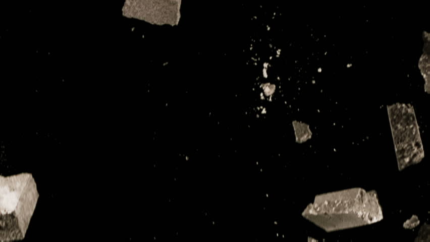 High quality motion animation representing various pieces of debris, falling in slow motion, on a black background.  | Shutterstock HD Video #20458033