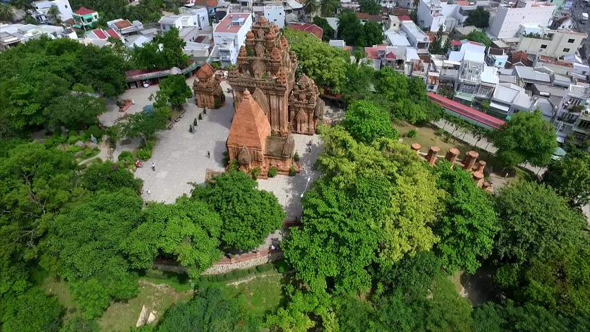 Aerial View of the Complex of Ancient Towers of po Nagar in Nha Trang, Vietnam