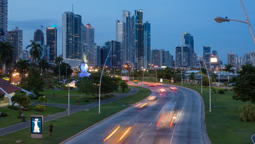4k time lapse of night traffic over interstate 10 and the 101 traffic on the main highway at dusk panama city panama central america sciox Choice Image