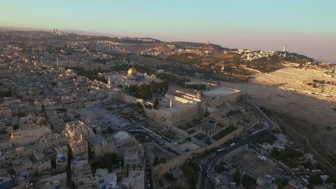 Aerial view of Jerusalem old city, Temple mount mosque, Western wall  Israel- Palestine Epic evening shot around Jerusalem old city with Dome of the Rock on Temple mount and the western wall
