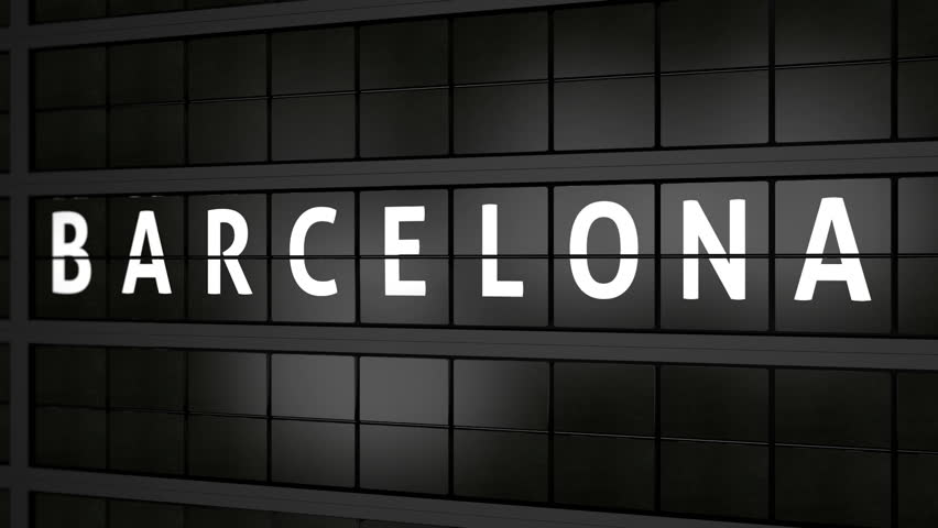 flight information board animation with the city name Barcelona