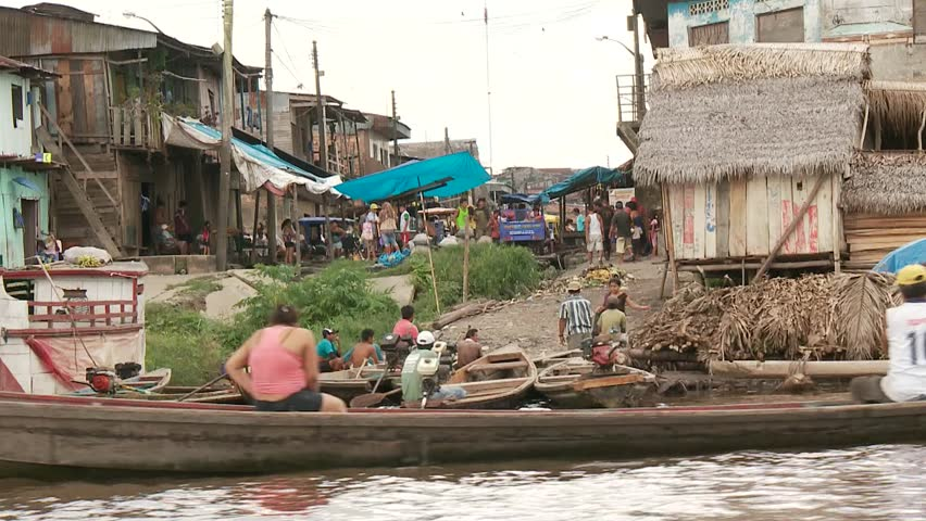 Slum City Of Belen, Iquitos at the Amazon River in Peru, South America