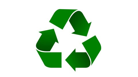 Universal recycle icon. Loopable animation with rotating arrows. Green color with shadows. Alpha matte included.