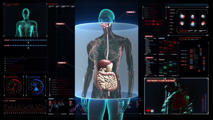 Stock video of full body anatomy scan with futuristic | 11118260 ...