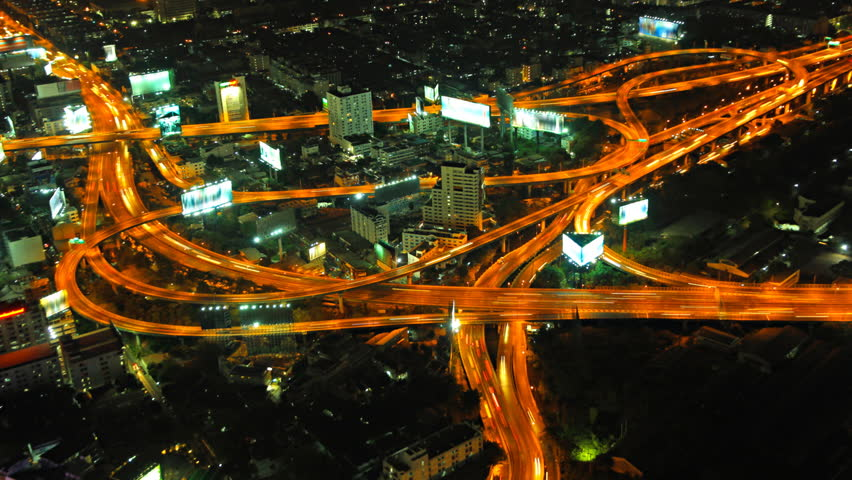 Expressway in the city. Night time lapse