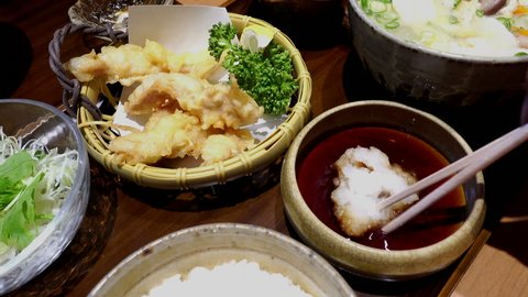 Eating vegetable tempura Japanese Food at restaurant, 4K