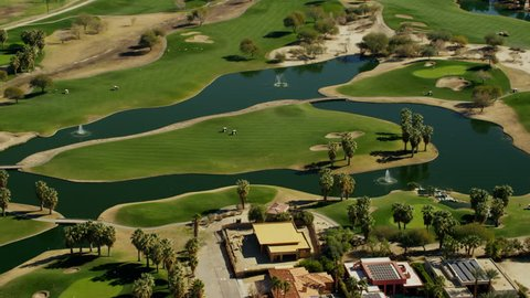 Aerial USA Coachella Palm Springs Golf course city sport outdoor tropical luxury Residential travel vacation tourism building Community wealthy
