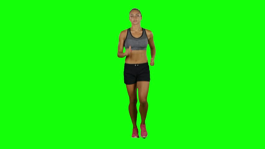 Running sport girl. Sport. Jogging. Front view. Green screen