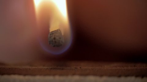 Firing point safety match. Close-up view to strike matches for matchbox. Detail of ignition matches for matchbox. Macro lighting of a match striking out a matchbox. Closeup safety match flame.