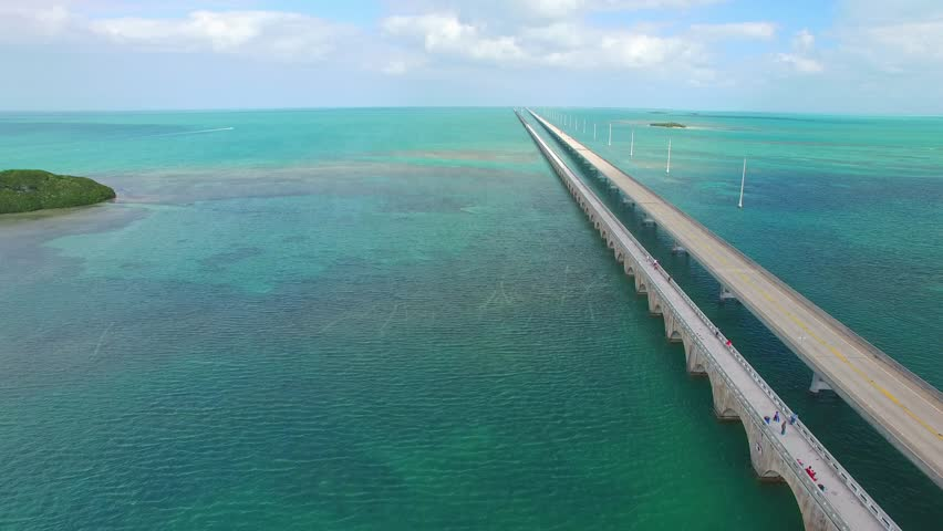 Florida Keys, amazing aerial view of Overseas Highway on a sunny day.