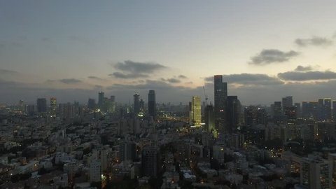 Aerial view of evening flight with Tel-Aviv city skyline Epic shot of Tel Aviv City skyline before night Amazing aerial shot!