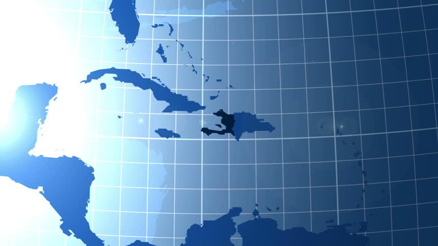 Haiti. Zooming into Haiti on the globe.