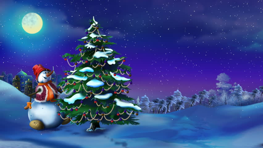 Snowman With A Christmas Tree Stock Footage Video 100 Royalty