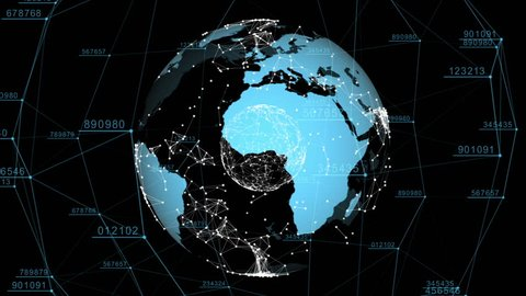 3d seamless animation of Global Business Network. Earth rotating in Space. Scientific Concept. Looped. HD 1080.